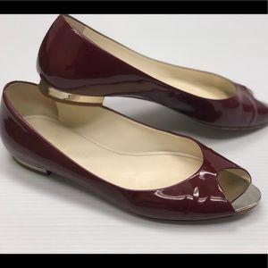 Women's chanel patent leather peep-toe flats 7.5-8